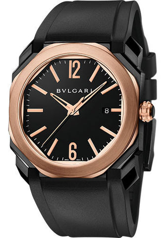 Bulgari - Octo Solotempo - Pink Gold and DLC Stainless Steel - Watch Brands Direct  - 1