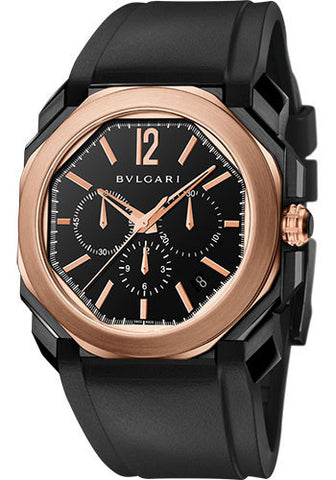 Bulgari - Octo Velocissimo - Pink Gold and DLC Stainless Steel - Watch Brands Direct