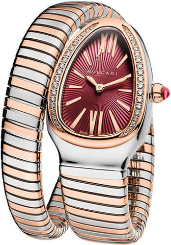 Bulgari - Serpenti Tubogas 35mm - Stainless Steel and Pink Gold with Diamonds - Watch Brands Direct
