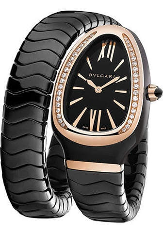 Bulgari - Serpenti Spiga - Ceramic and Pink Gold with Diamonds - Watch Brands Direct  - 1