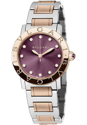 Bulgari - BVLGARI - 33mm - Stainless Steel and Pink Gold - Watch Brands Direct