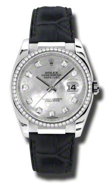 Rolex,Rolex - Datejust 36mm - White Gold - Leather - Watch Brands Direct