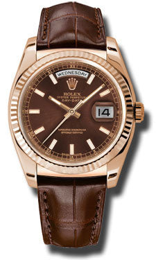Rolex - Day-Date President Pink Gold - Fluted Bezel - Leather - Watch Brands Direct  - 1