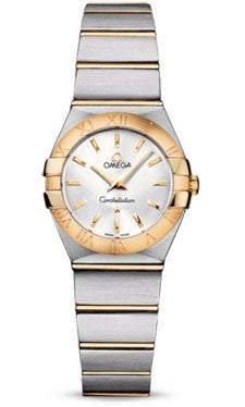 Omega,Omega - Constellation Quartz 24 mm - Brushed Steel and Yellow Gold - Watch Brands Direct