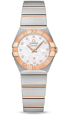 Omega,Omega - Constellation Quartz 24 mm - Brushed Steel and Red Gold - Watch Brands Direct