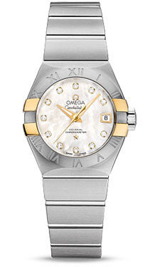 Omega,Omega - Constellation Co-Axial 27 mm - Brushed Steel and Yellow Gold Claws - Watch Brands Direct