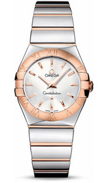 Omega,Omega - Constellation Quartz 27 mm - Polished Steel and Red Gold - Watch Brands Direct
