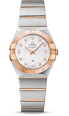 Omega,Omega - Constellation Quartz 27 mm - Brushed Steel and Red Gold - Watch Brands Direct