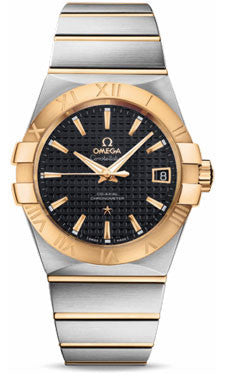 Omega,Omega - Constellation Co-Axial 38 mm - Brushed Steel and Yellow Gold - Watch Brands Direct