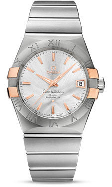 Omega,Omega - Constellation Co-Axial 38 mm - Brushed Steel and Red Gold Claws - Watch Brands Direct
