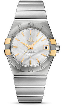 Omega,Omega - Constellation Co-Axial 38 mm - Brushed Steel and Yellow Gold Claws - Watch Brands Direct