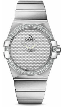 Omega,Omega - Constellation Co-Axial 38 mm - Brushed White Gold - Watch Brands Direct