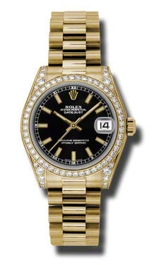 Rolex,Rolex - Datejust 31mm - Gold President Yellow Gold - Diamond Bezel - Diamond Case - Watch Brands Direct