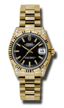 Rolex,Rolex - Datejust 31mm - Gold President Yellow Gold - Fluted Bezel - Diamond Case - Watch Brands Direct