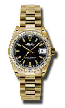 Rolex,Rolex - Datejust 31mm - Gold President Yellow Gold - Diamond Bezel - Watch Brands Direct