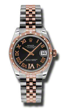 Rolex,Rolex - Datejust 31mm - Steel and Pink Gold - 24 Diamond Bezel - Watch Brands Direct