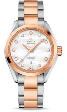 Omega,Omega - Seamaster Aqua Terra 150 M Master Co-Axial 34 mm - Stainless Steel and Sedna Gold - Watch Brands Direct