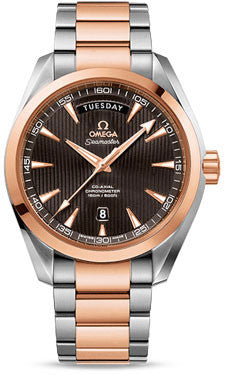 Omega,Omega - Seamaster Aqua Terra 150 M Co-Axial Day-Date 41.5 mm - Stainless Steel and Red Gold - Watch Brands Direct