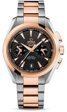 Omega,Omega - Seamaster Aqua Terra 150 M Co-Axial GMT Chronograph 43 mm - Stainless Steel and Red Gold - Watch Brands Direct
