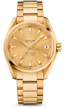Omega,Omega - Seamaster Aqua Terra 150 M Master Co-Axial 38.5 mm - Yellow Gold - Watch Brands Direct