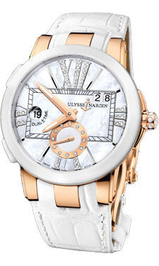 Ulysse Nardin,Ulysse Nardin - Executive Dual Time Lady - Rose Gold - Ceramic Bezel - Watch Brands Direct