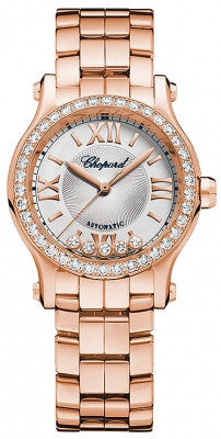 Chopard - Happy Sport Automatic - Round Mini 30mm - Rose gold and Diamonds - Watch Brands Direct