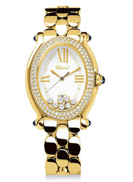 Chopard,Chopard - Happy Sport - Oval - Yellow Gold - Diamond Bezel - Watch Brands Direct