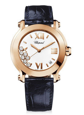 Chopard,Chopard - Happy Sport - Round Medium - Rose Gold - Leather Strap - Watch Brands Direct