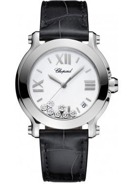 Chopard,Chopard - Happy Sport - Round Medium - Stainless Steel - Leather Strap - Watch Brands Direct