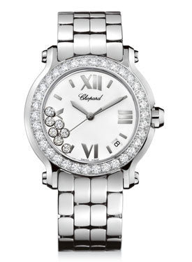 Chopard,Chopard - Happy Sport - Round Medium - Stainless Steel and White Gold - Watch Brands Direct