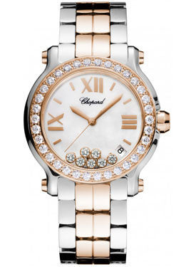 Chopard,Chopard - Happy Sport - Round Medium  - Stainless Steel and Rose Gold - Watch Brands Direct