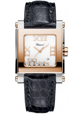 Chopard,Chopard - Happy Sport - Square Medium - Stainless Steel and Rose Gold - Watch Brands Direct