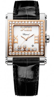 Chopard - Happy Sport Automatic - Square Medium - Stainless Steel and Rose Gold with Diamonds - Watch Brands Direct