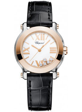 Chopard,Chopard - Happy Sport - Round Mini - Stainless Steel and Rose Gold - Watch Brands Direct