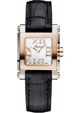 Chopard - Happy Sport - Square Mini - Stainless Steel and Rose Gold - Watch Brands Direct  - 1