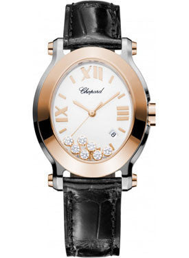Chopard,Chopard - Happy Sport - Oval - Stainless Steel and Rose Gold - Watch Brands Direct