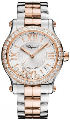 Chopard - Happy Sport Automatic - Round Medium 36mm - Stainless Steel and Rose Gold - Watch Brands Direct
