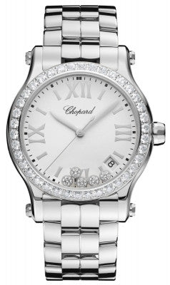 Chopard - Happy Sport Automatic - Round Medium 36mm - Stainless Steel and Diamonds - Watch Brands Direct  - 1