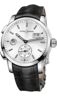 Ulysse Nardin,Ulysse Nardin - Dual Time Manufacture - Stainless Steel - Leather Strap - Watch Brands Direct