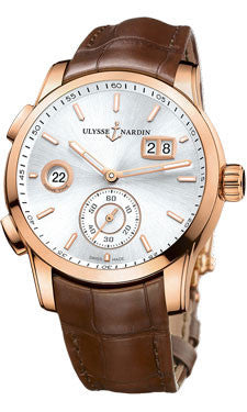 Ulysse Nardin,Ulysse Nardin - Dual Time Manufacture - Rose Gold - Leather Strap - Watch Brands Direct