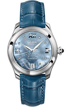Glashutte Original,Glashutte Original - Ladies Collection - Serenade - Stainless Steel - Blue Mother of Pearl - Watch Brands Direct