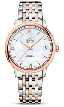 Omega,Omega - De Ville Prestige Co-Axial 32.7 mm - Steel And Red Gold - Watch Brands Direct