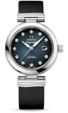 Omega,Omega - De Ville Ladymatic Co-Axial 34 mm - Stainless Steel on Leather - Watch Brands Direct