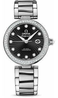 Omega,Omega - De Ville Ladymatic Co-Axial 34 mm - Stainless Steel on Bracelet - Diamond Bezel - Watch Brands Direct