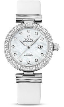 Omega,Omega - De Ville Ladymatic 34 mm - Stainless Steel on Leather - Diamond Bezel - Watch Brands Direct