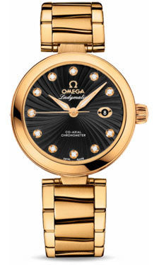 Omega,Omega - De Ville Ladymatic Co-Axial 34 mm - Yellow Gold - Watch Brands Direct