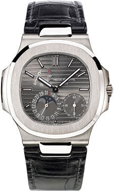 Patek Philippe,Patek Philippe - Nautilus Mens - White Gold - Leather - Watch Brands Direct