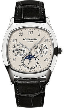 Patek Philippe,Patek Philippe - Grand Complications Perpetual Calendar Moonphase - Cushion Shaped - White Gold - Watch Brands Direct