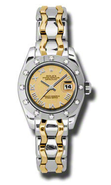 Rolex - Datejust Pearlmaster Lady Bicolor - 12 Diamond Bezel - Watch Brands Direct