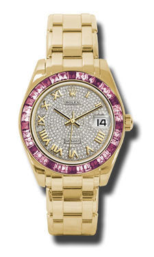 Rolex - Datejust Pearlmaster 34 Yellow Gold - 36 Pink Sapphire Bezel - Watch Brands Direct  - 1